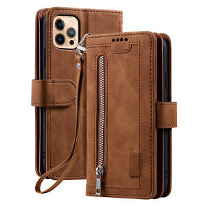 Zipper Leather Wallet Case For iPhone 12 13 Pro Max 11 67 8+ SE XS XR Flip Cover
