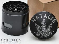 Tribal Pot Leaf Personalize Ladies Name Black 4 Layer Herb Grinder Glass Windows