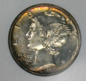 1939 MERCURY SILVER DIME PROOF NGC PF65 NICE TONED COLLECTOR COIN, FREE SHIPPING