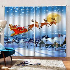 "79x55"" inch Christmas Santa Curtains Classical Waterproof 2Panels Drapes Xmas"
