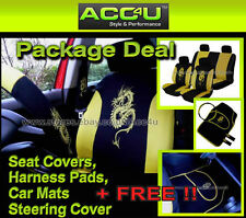 Black Yellow Dragon Logo Car Seat Covers+Mats+Steering Wheel Cover+Harness Pads+
