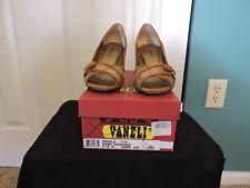 Womens Vaneli Mesala Rame Open Toe Suede Heels Shoes Brown Size 6 1/2 M GUC