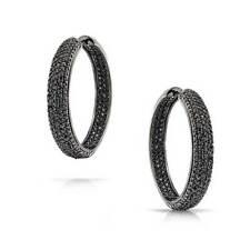 Black Pave Inside Out Wide Hoop CZ Earrings Black Rhodium Plate Brass