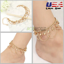 New Yellow Gold Bells Chain Ankle Tassel Hawaiian Anklet Summer Barefoot Jewelry