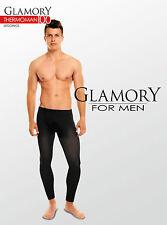 Leggins pour hommes noir, de grande taille Plus 4XL, GLAMORY Thermoman 100DEN