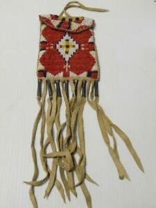 OLD VINTAGE ROSEBUD SIOUX PLAINS INDIAN BEADED BAG POUCH - c1930-40s  XLNT !