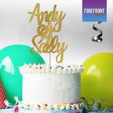 Personalised WEDDING RING COUPLE GOLD glitter cake topper Birthday/Wedding/ gift