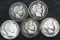1902 +1907 +1911 +1915-S +1916 Barber Dimes Silver ---- NICE LOT ---- #F092