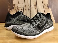 Nike Free RN Flyknit 2018 Running Shoe White Black Oreo 942838-101 Men's Sz 10