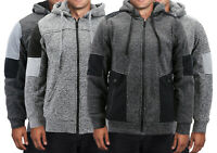 Men's Moto Quilted Two Toned Zipper Fleece Warm Soft Sherpa Lined Hoodie Jacket