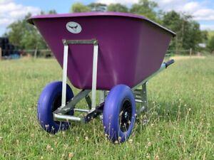 OX TWIN WHEELBARROW 200L Stable Garden Wheel Puncture Proof Large 200 Ltr Purple