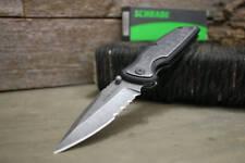 Schrade Linerlock Stone Washed Serrated Folding Pocker Knife 9Cr18MoV SCH505S