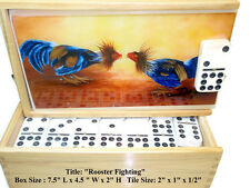 "Best Valentine Gift!! Domino Set Double 9 ""Roosters"" Oil painting on Top."