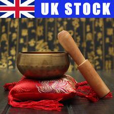 3X Tibetan Buddhist Yoga Prayer 8cm Hammered Singing Bowl+Wood Striker+Sewn Mat