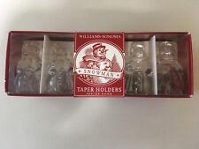 Williams Sonoma Snowman Taper Candle Holders Set of 4 NIB