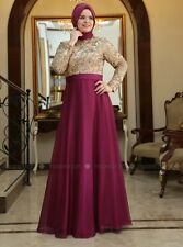 Eid Sultan Evening Dress - Gold & Fuchsia - Size 46/EU - Abaya Jalabiya Kaftan