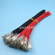 20pcs Red/Black 6.3mm Female Spade Crimp Terminals Wire Connector 20CM 18AWG