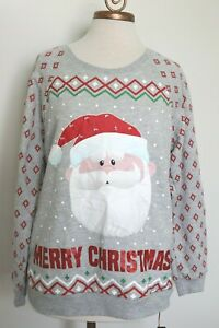 Rudolph Santa Sweatshirt Ugly Light up Christmas Holiday Sweater XL 15-17