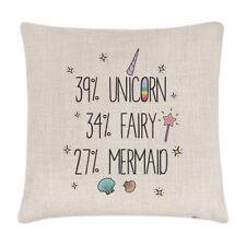 39% Unicorn 34% Fairy 27% Mermaid Linen Cushion Cover - Pillow Funny