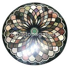 "30"" Marble Top Coffee Table Multi Stone Geometrical Inlay Interior Decors B148"