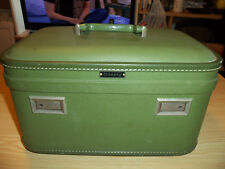 "WHEARY Hardside Cosmetic / Train Case - 15"" x 9"" x 10"" - Green - NO KEY Vintage"