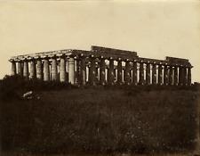 Italie, Paestum, temples d'Héra vintage albumen print Tirage albuminé
