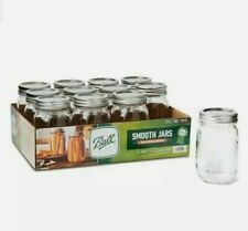 🔥 Ball Mason Jar 16oz 12pk Glass Smooth-Sided Regular Mouth with Lid and Band🔥