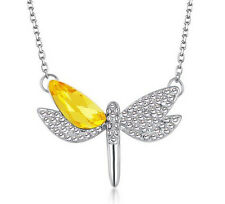 NEW Womens Dragonfly Yellow Crystal Rhinestone Silver Chain Pendant Necklace ---