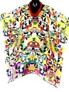 100% Silk Kaftans & Necklace /Vibrant Multi  / Plus /Very light & Cool / RR$149