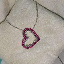 Ross Simons Sterling silver heart Pave fushia Pink Sapphire Pendant necklace$250