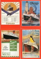 Unused set of 4 postcards showing famous Cunard Line Shipping Posters