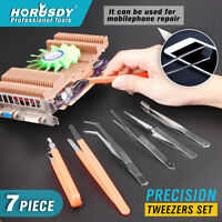 7pcs Tweezers Set ESD Safe Anti-Static Stainless Steel Maintenance Repair Tools