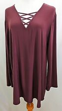 Cato Women Plus Size 14/16 Elegant Burgundy Tunic Top Blouse Shirt Spiced Wine