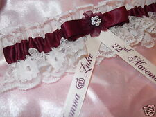 PERSONALISED BURGUNDY & IVORY LACE WEDDING GARTER WITH DIAMANTE *NEW IN BOX*