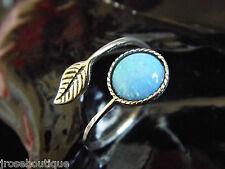 SILVER #JRk21716 Mermaids Tear Australian Blue Opal 925 Sterling Adjustable Ring