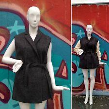 Pablo Women's Sleeveless Wool Jacket Grey Tie Belt FR 42  UK14  Alpaca Mohair L
