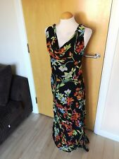 Ladies KALEIDOSCOPE Dress Size 20 Black Long Maxi Party Evening Beaded Floral