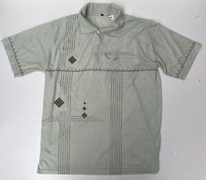 Large Retro Mod Northern Soul Golf Darts Diamond Geometric Polo T-shirt Green