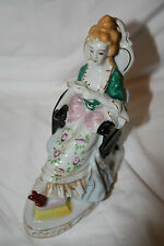 Victorian Porcelain Lady Tea Time Relaxing in Chair w/ Footstool Japan