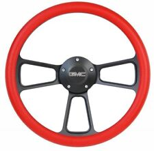 "1960-1969 GMC Pick Up Truck 14"" Red Steering Wheel + Chevy Horn + Adapter"