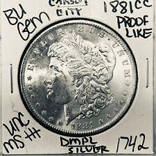 1881 CC BU GEM MORGAN SILVER DOLLAR UNC-MS++U.S. MINT RARE KEY COIN 1742