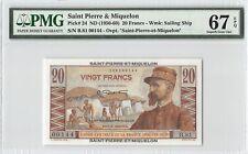 Saint Pierre & Miquelon ND (1950-60) P-24 PMG Superb Gem UNC 67 EPQ 20 Francs