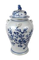 "Cute Floral Bird Motif Blue and White Temple Jar 19.5"""