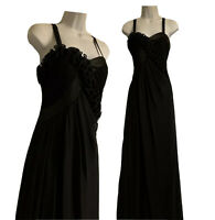 EVENING Women's UK 10 S Black Maxi Dress Glam Draped Ruched Xmas Party Chiffon