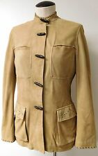 HENRY BEGUELIN AMAZING WHIP STITCH ULTRA SOFT BEIGE SUEDE JACKET NEHRU COLLAR 4