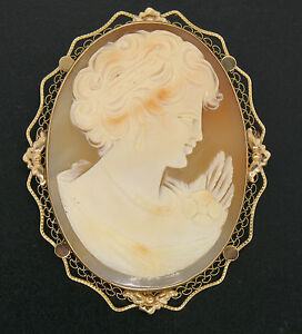 Vintage 14K Rose Gold Large Carved Shell Cameo Wavy Filigree Open Work Frame