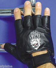 Gants moto mitaines cuir noir SKULL Taille L