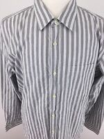 Banana Republic Mens XL Gray & White Striped Long Sleeve Slim Fit I-77