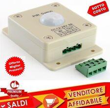 Sensore PIR 12V 24V per striscia LED 8A Movimento Sensore Parete Interruttore