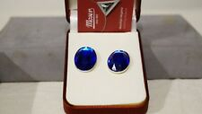 Moser Crystal Earring Rhodium Colour Color Indigo Blue Navy Round